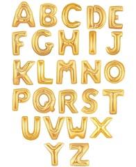 """Буквы латиница (от A до Z) 40"""" Золото"""