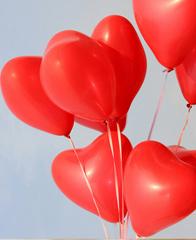 Латексный шар сердце фуксия, 35 см