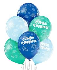 Латексные шары с Днем рождения самолеты, 25 шт.