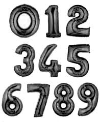 """Цифры фольгированные 40"""" Чёрный"""
