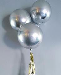 Фольгированный шар 3D сфера Silver, 45 см