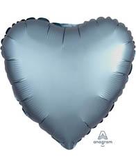 Сердце Сатин Steel Blue 46 см
