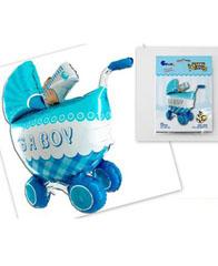 Фольгированный шар объемная Коляска детская голубая