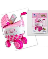 Фольгированный шар объемная Коляска детская розовая
