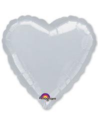 Сердце Металлик Silver 46 см