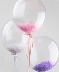 Прозрачная 3D сфера Deco Bubbles с перьями,50-55см